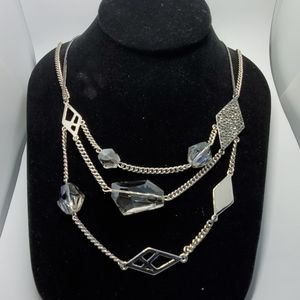 KENNETH COLE SILVER 3 CHAIN NECKLACE WITH CRYSTALS